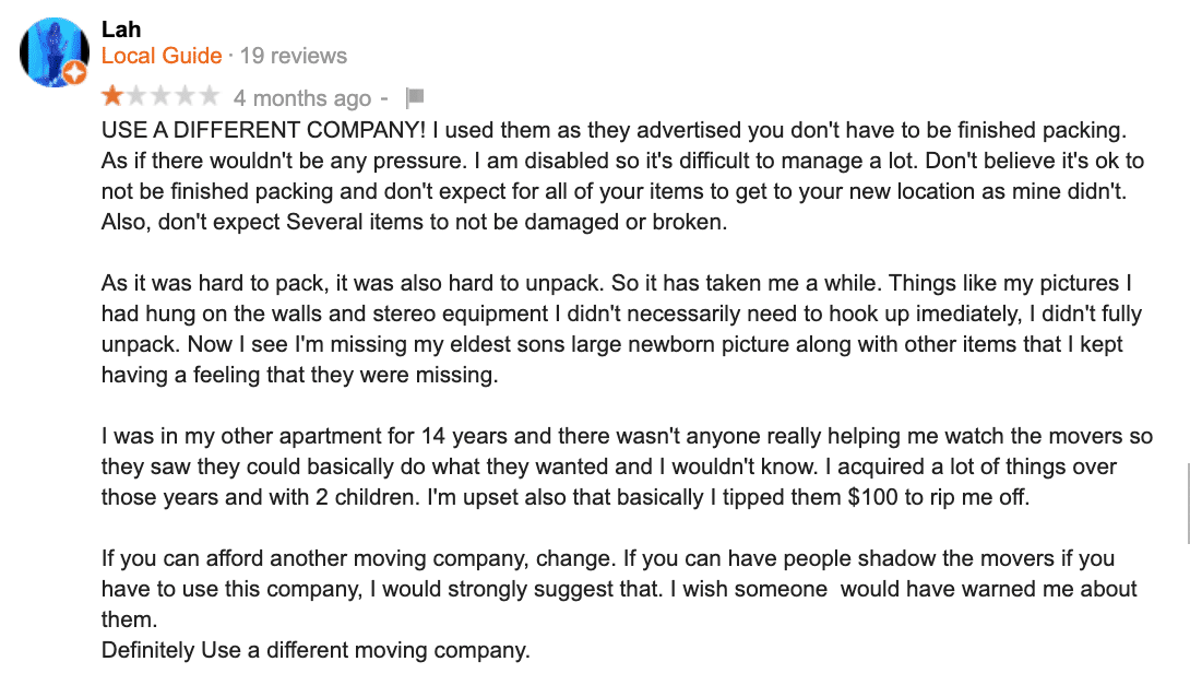 13 Worst Moving Reviews